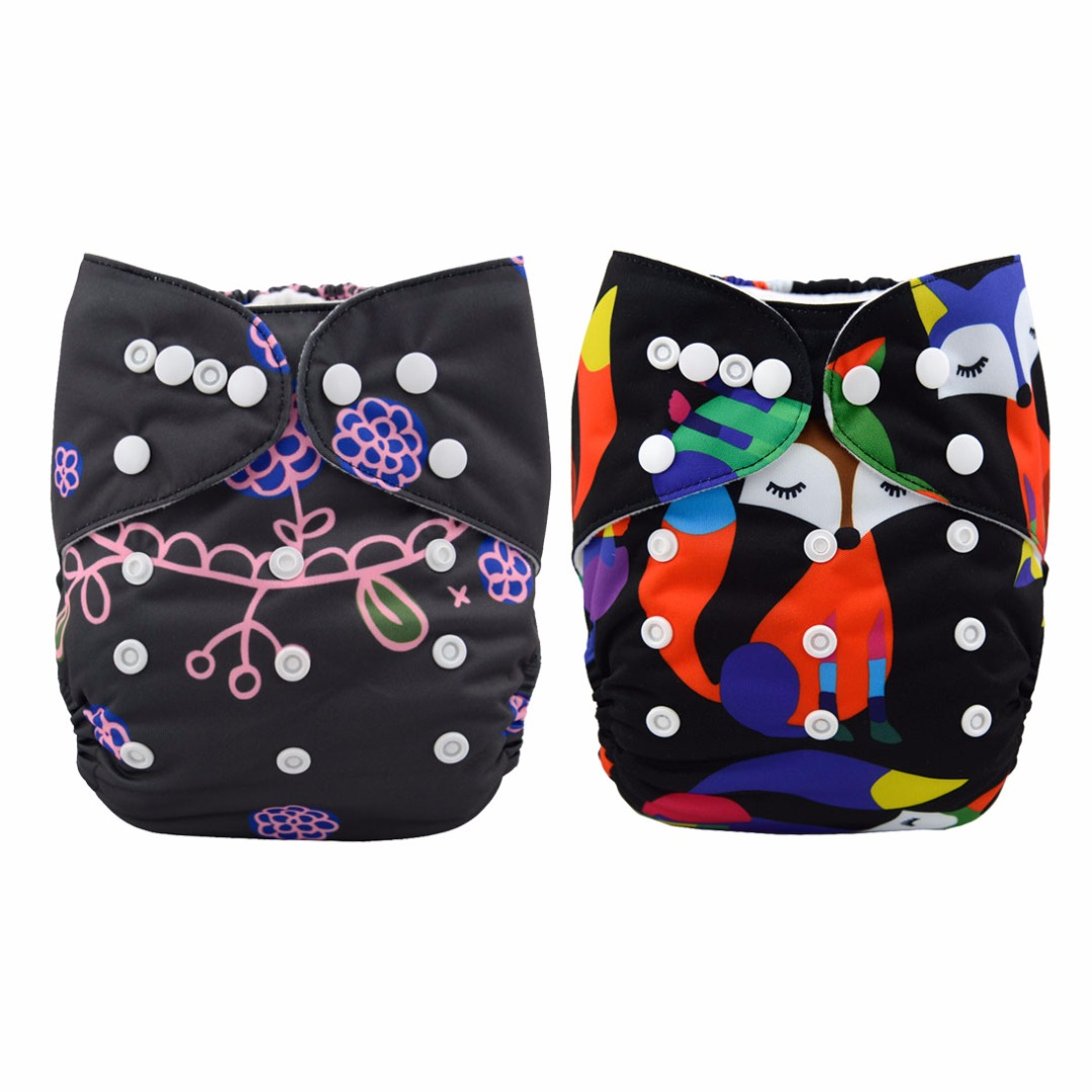 Baby Reusable & Washable & Adjustable Mermaid & Fox Diapers With Inserts