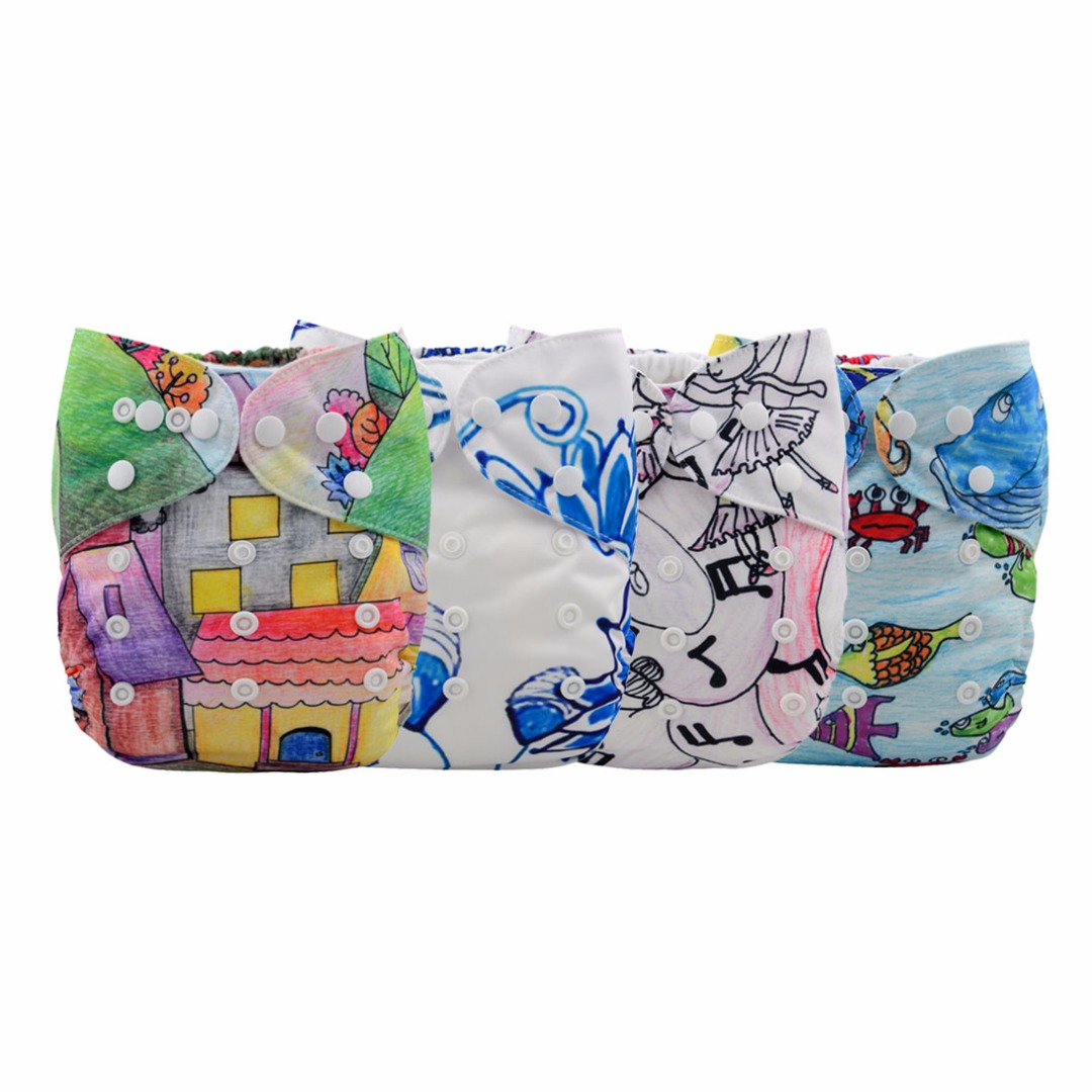 Baby Reusable & Washable & Adjustable 4pc Prime Diapers With Inserts