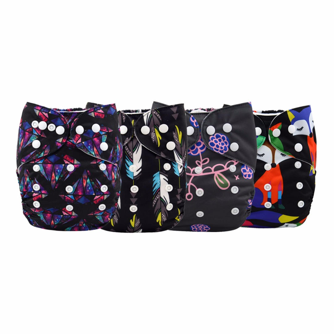 Baby Reusable & Washable & Adjustable 4pc Black Diapers Set With Inserts