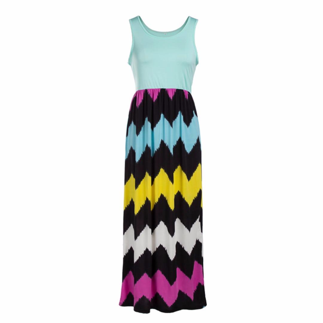 Womens Sky-blue/black Stripe Sleeveless Maxi Dress