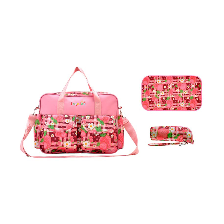 Strawberry Patch Deluxe Diaper Bag Set (5pc-set)