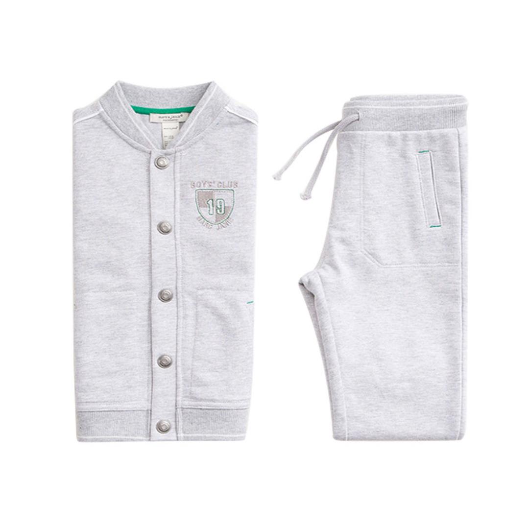 Boys' Club Warm-up Jacket/Top & Pants/Bottom Set in Gray