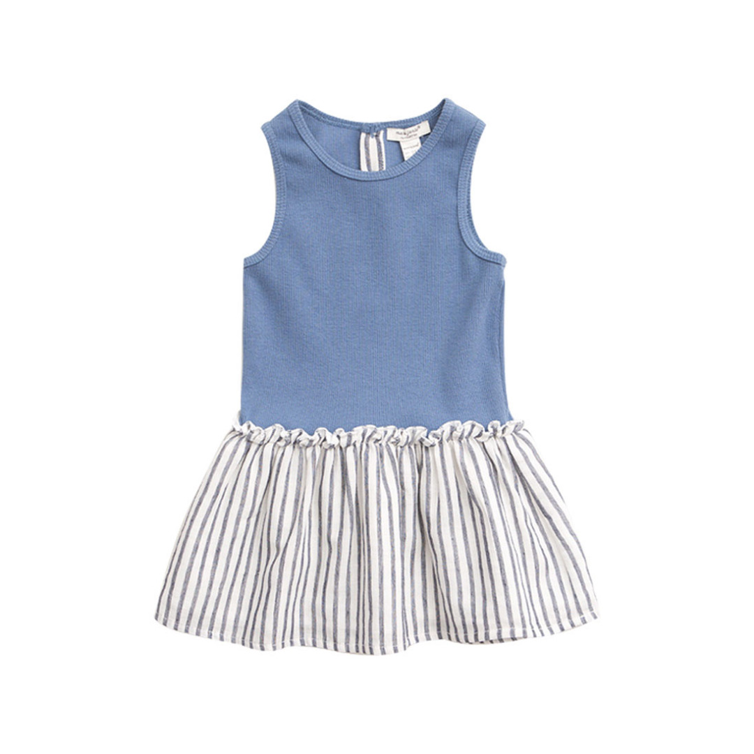 Ribbed Bodice Dress with Striped Skirt for Girls