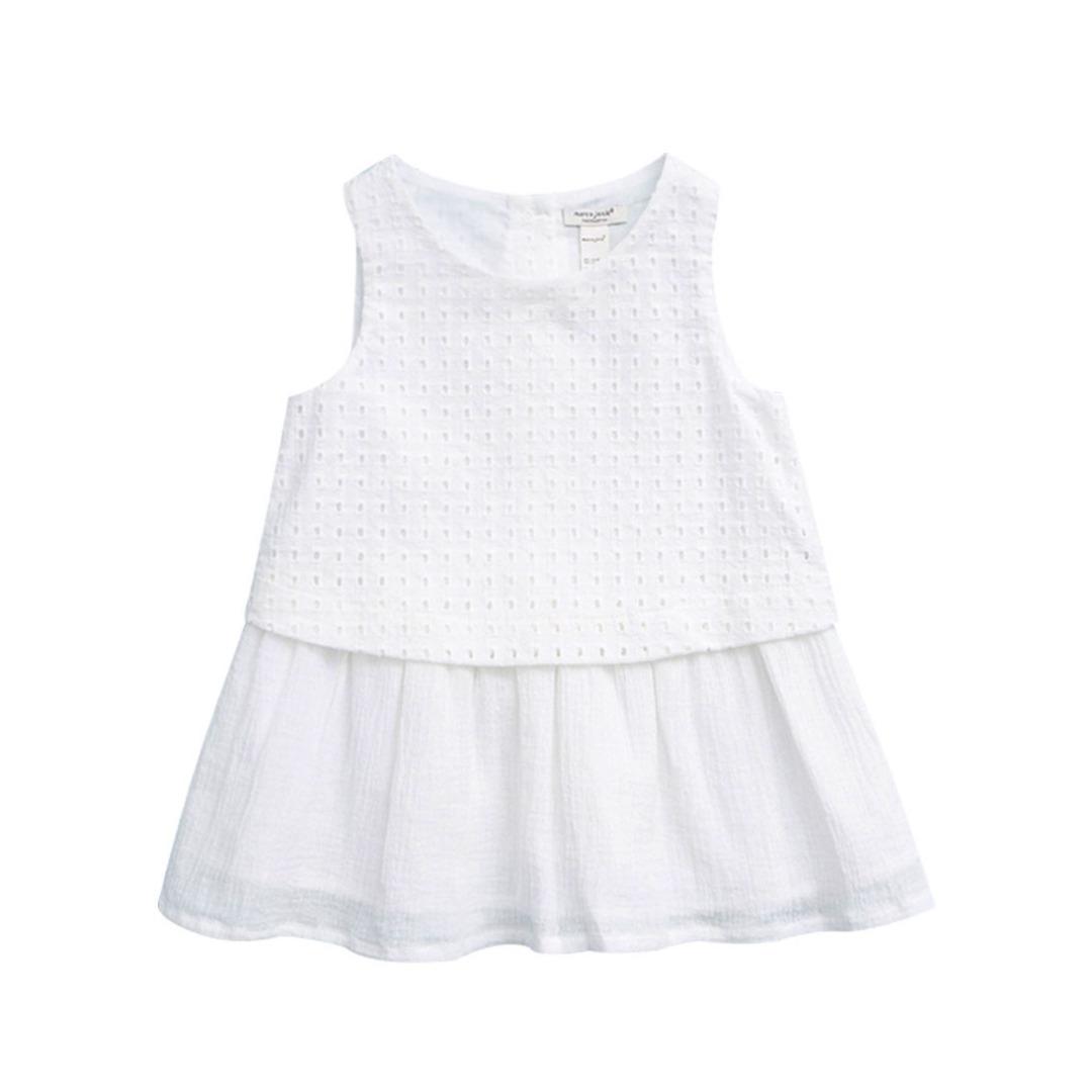 Sleeveless Gauze Dress with Embroidered Lattice Bodice for Girls