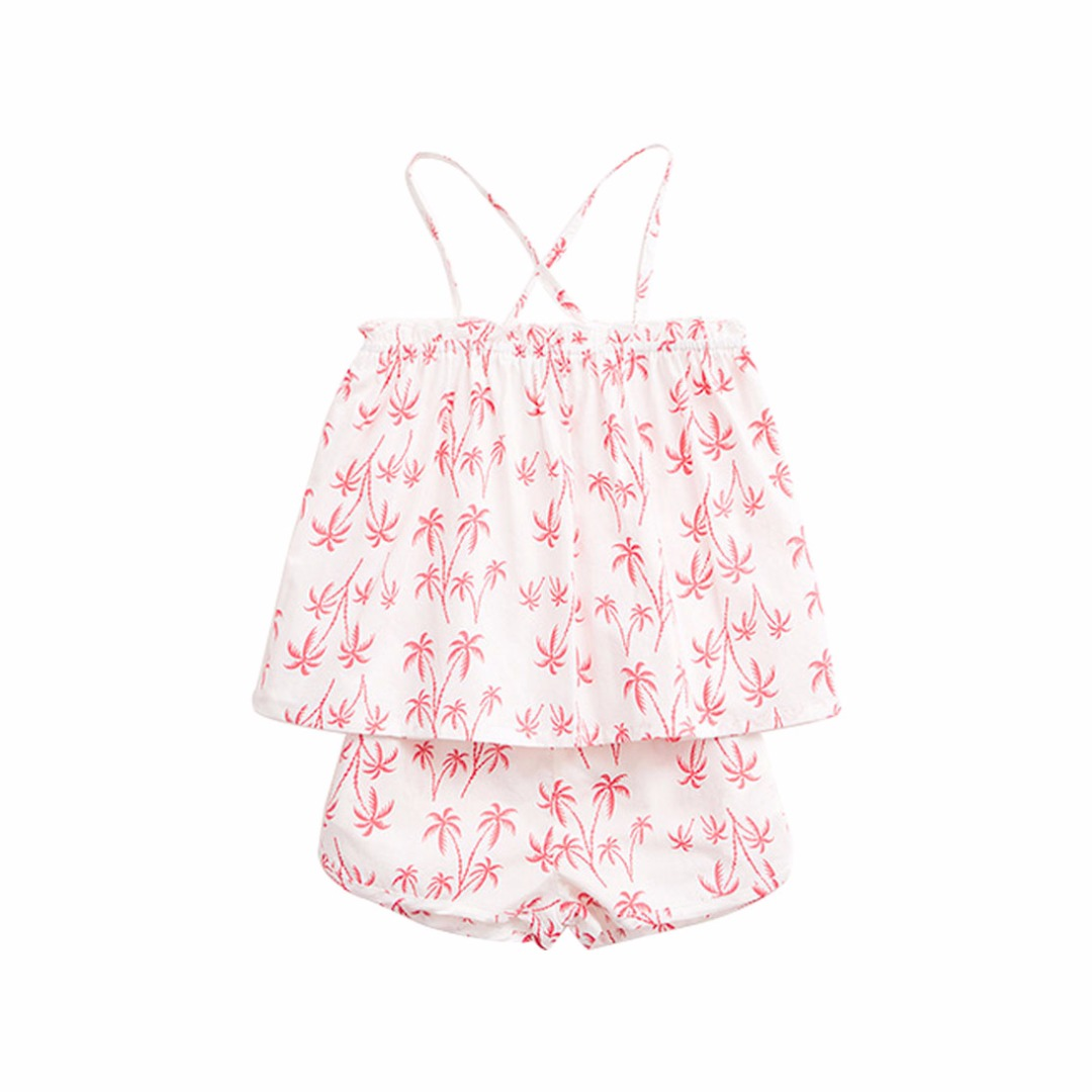 Beach Time Palm Tree Cotton Top & Shorts Set for Girls