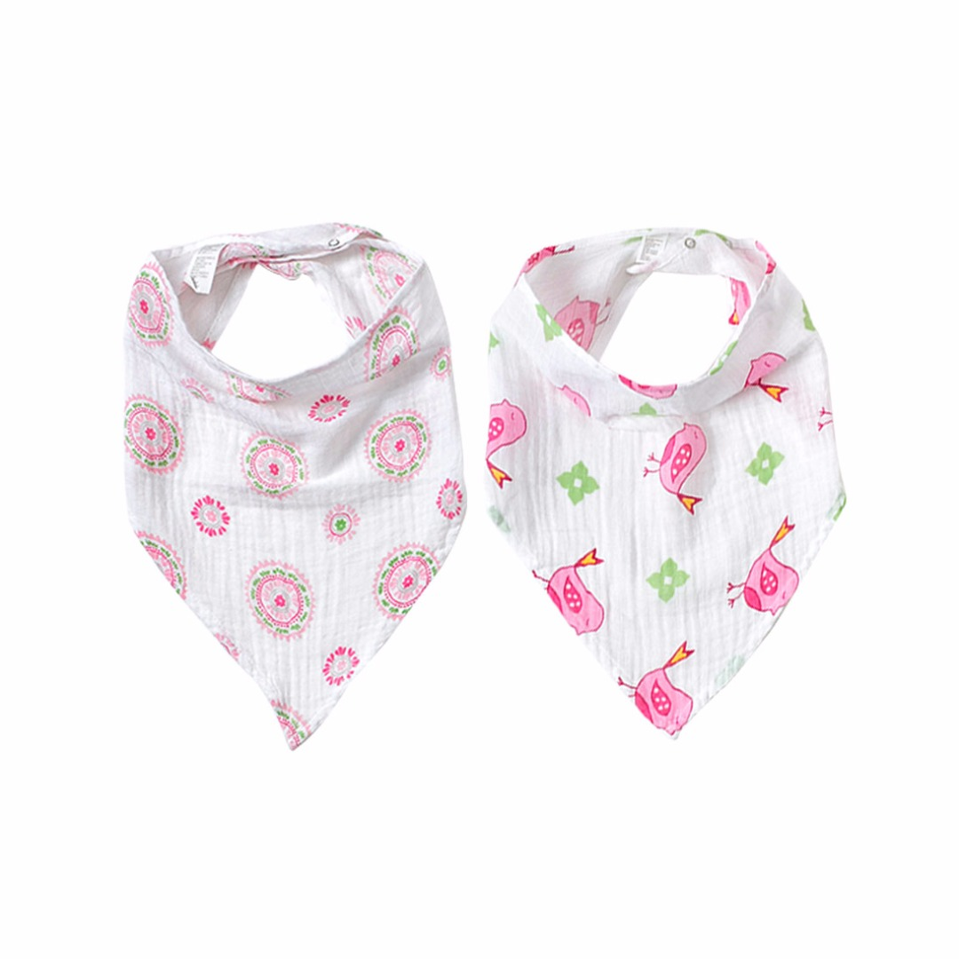 Birds & Flowers Triangle Bibs (2pc-set) for Baby Girl