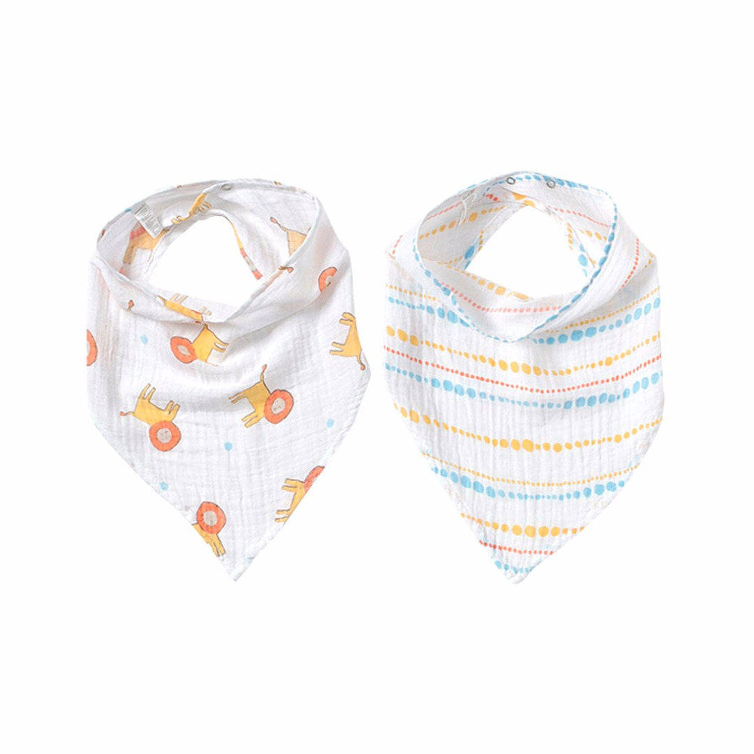 Lions & Stripes Triangle Bibs (2pc-set) for Baby Girl