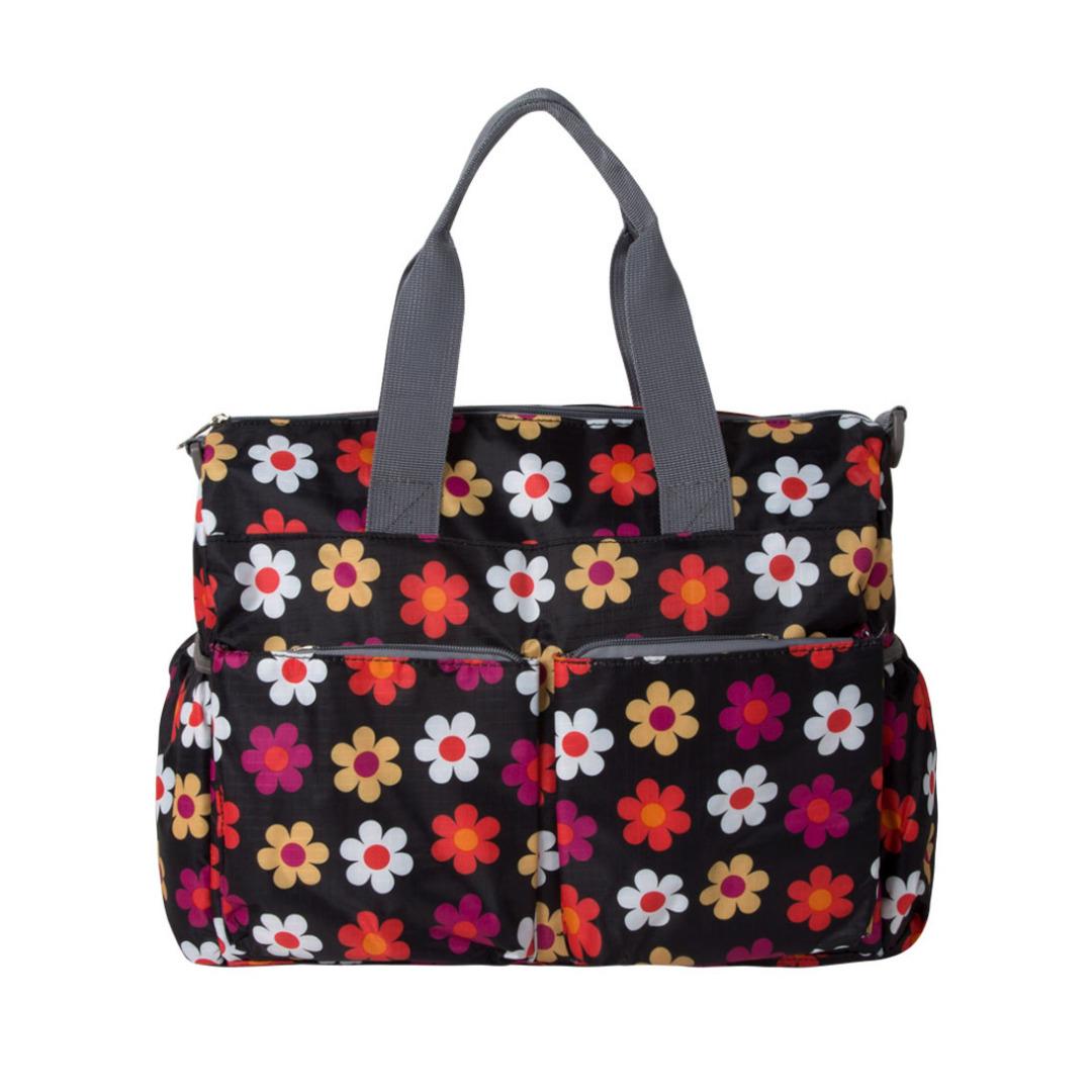 Black Floral Trending Stroller Diaper Bag