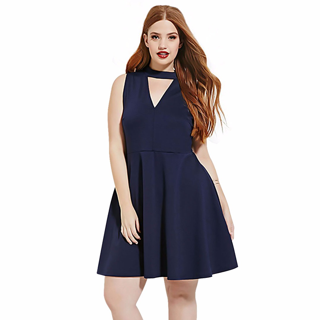 Women's Elegant Sleeveless Dress Cutout V-Neck