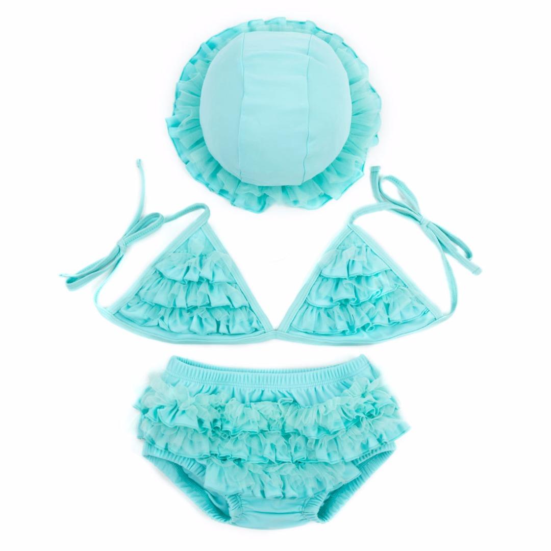 Girl's Sky Blue Bikini Swimsuit Lace Top, Bottom & Hat Set 38725-en-USD-6-12M