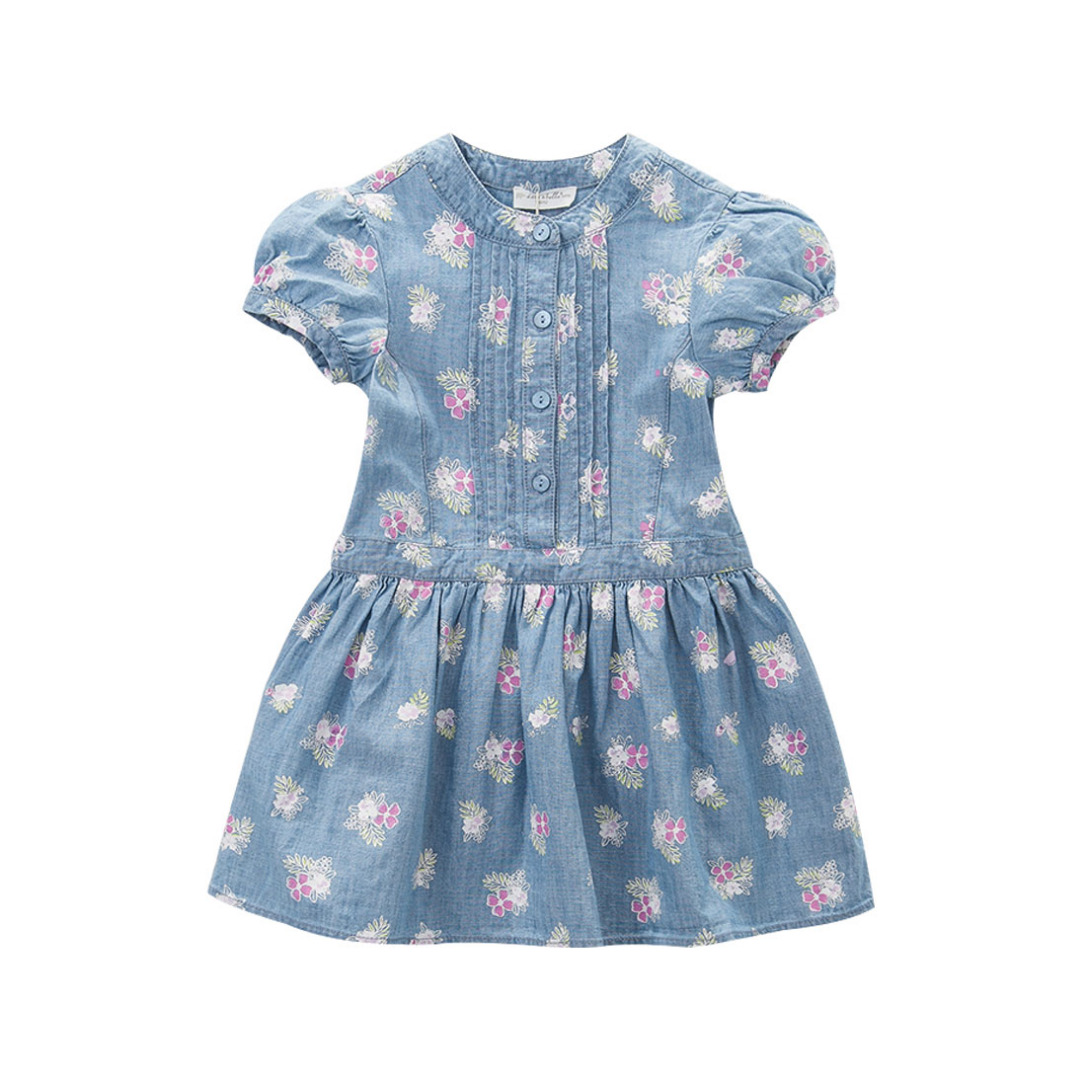 Blue Blossoms Printed Denim Cotton Dress for Girls