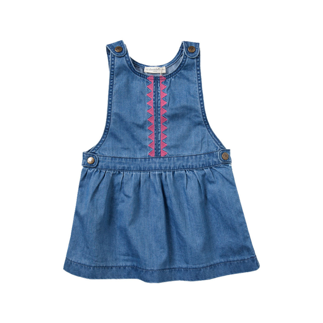 Girl's Denim Blue Sleeveless Cotton Dress with Embrodery