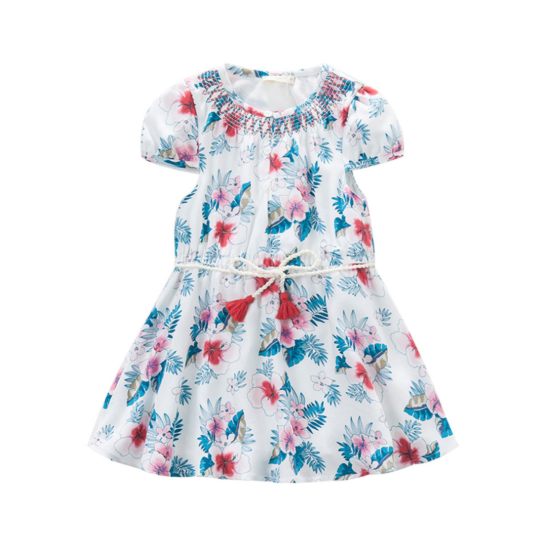Girl's Tropical Floral Dress with Cap Sleeves