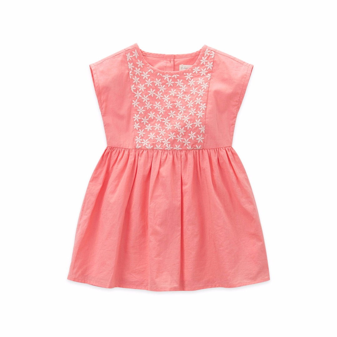 Girl's Sleeveless Cotton Dress with Floral Embroidery