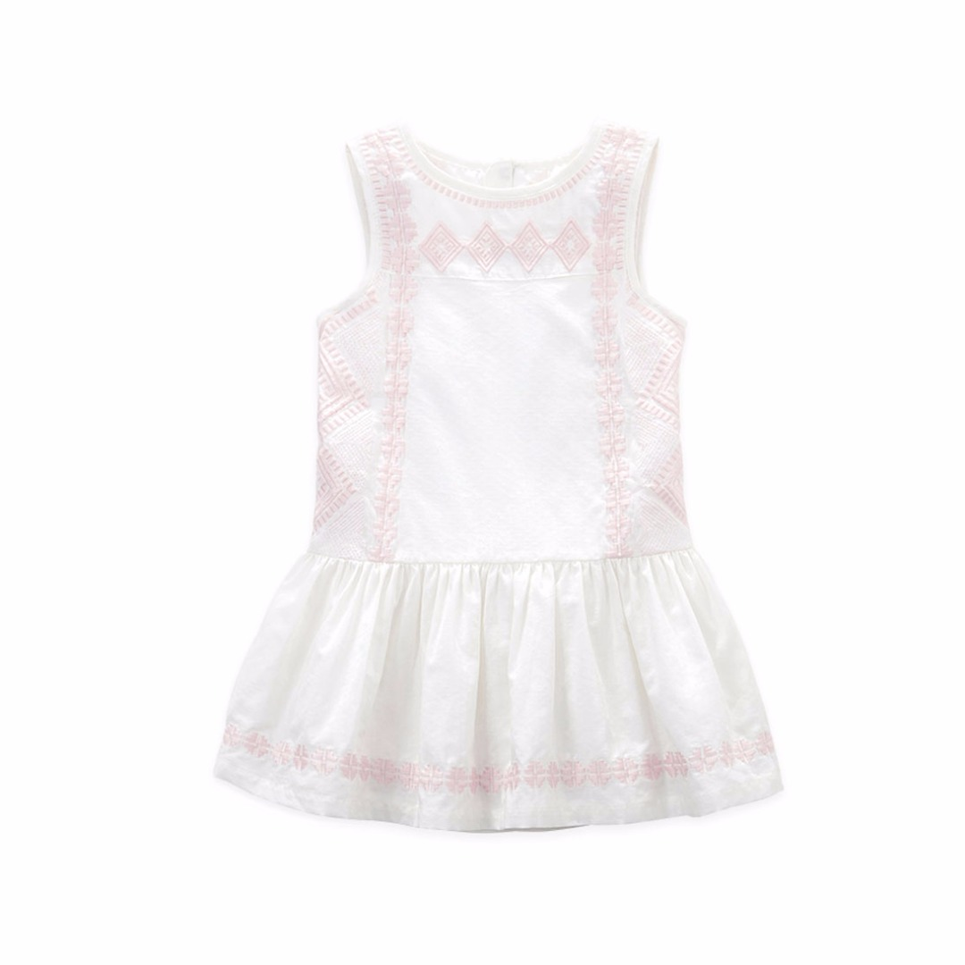 Girl's Sweet Pleated Cotton Dress with Embroidery
