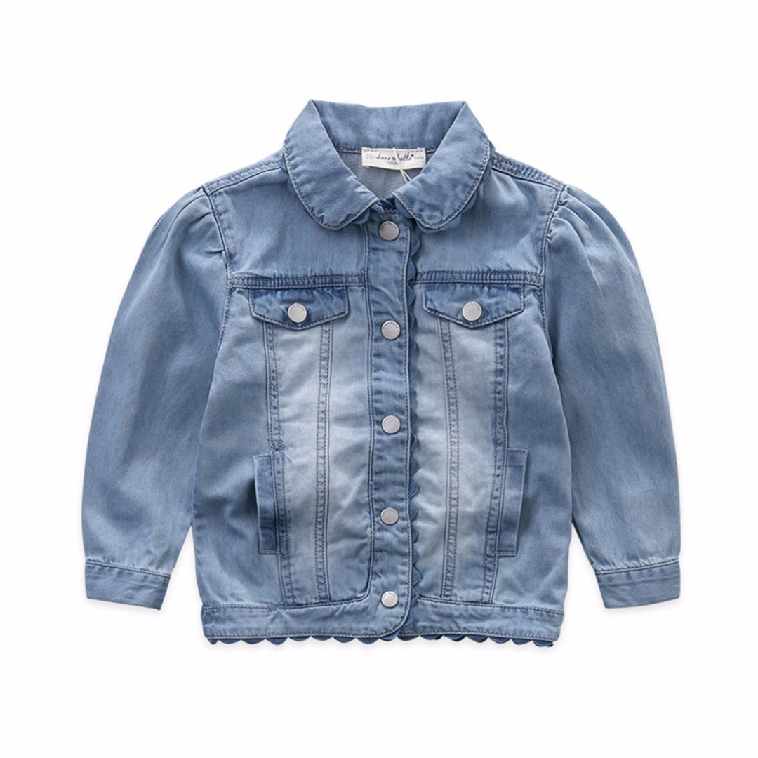 Girl's Sweet Denim Jacket with Flower Edge