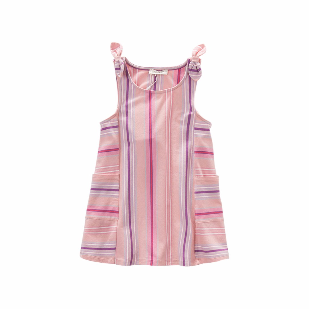 Girl's Striped Sleeveless Cotton Dress with Pockets