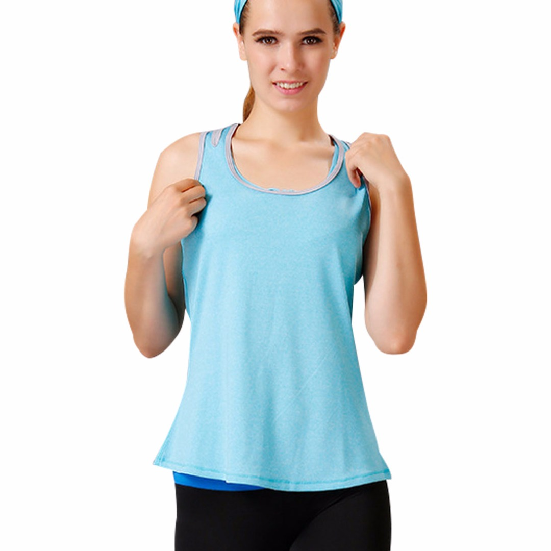 Women Light Blue Comfy Sports Tank / Top