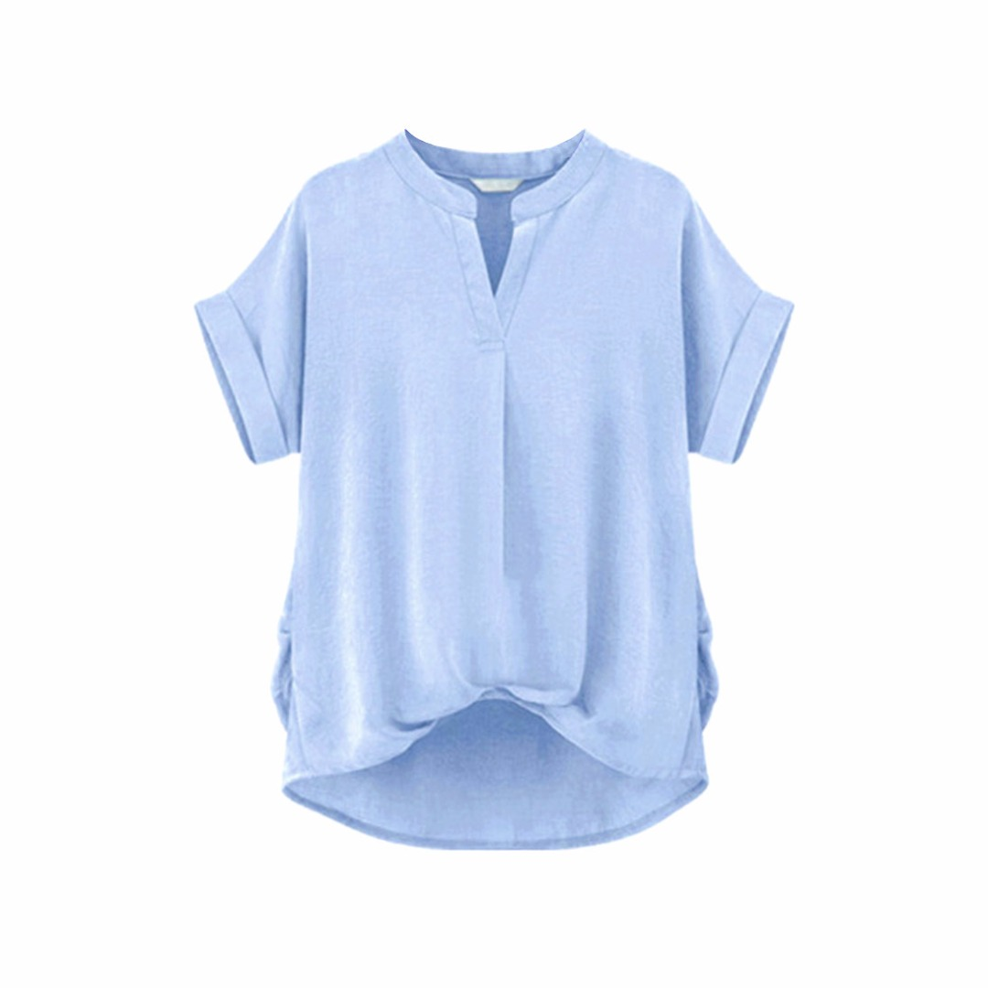 Women Basic Light Blue Hi-Lo Short Sleeve Blouse/Top