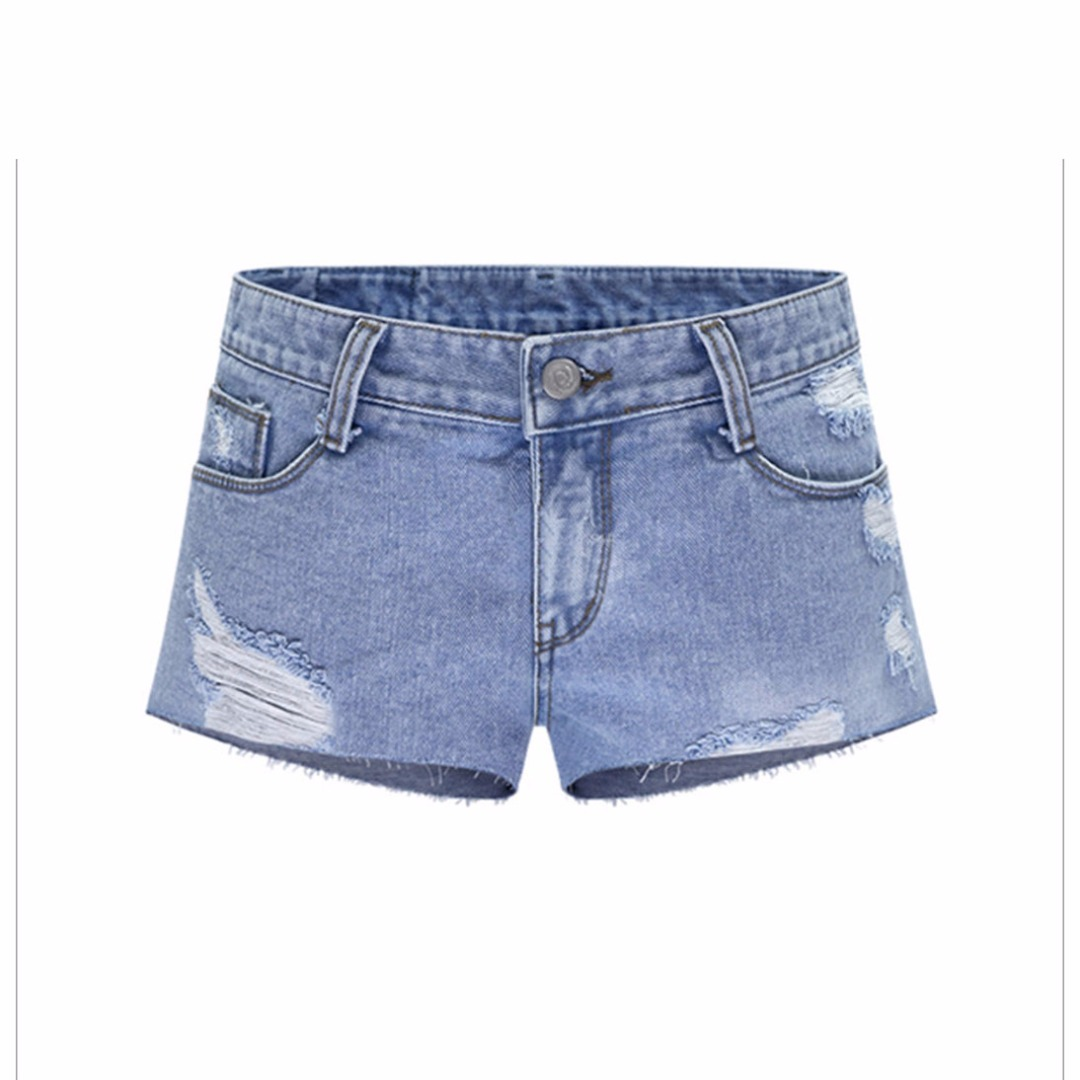 Women Trendy Pre-Washed Denim Shorts in Light Blue