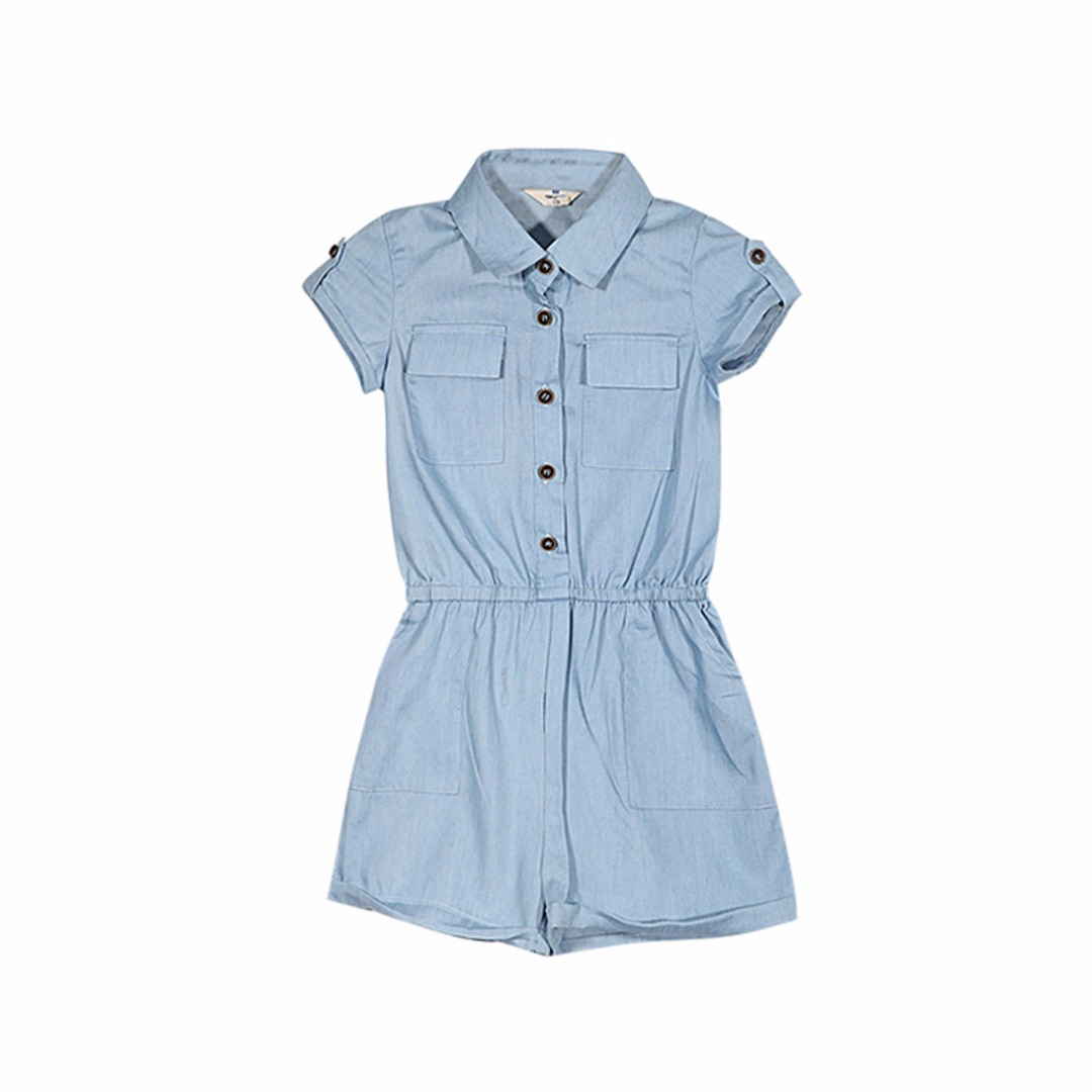 Girl's Denim Blue Preppy Romper