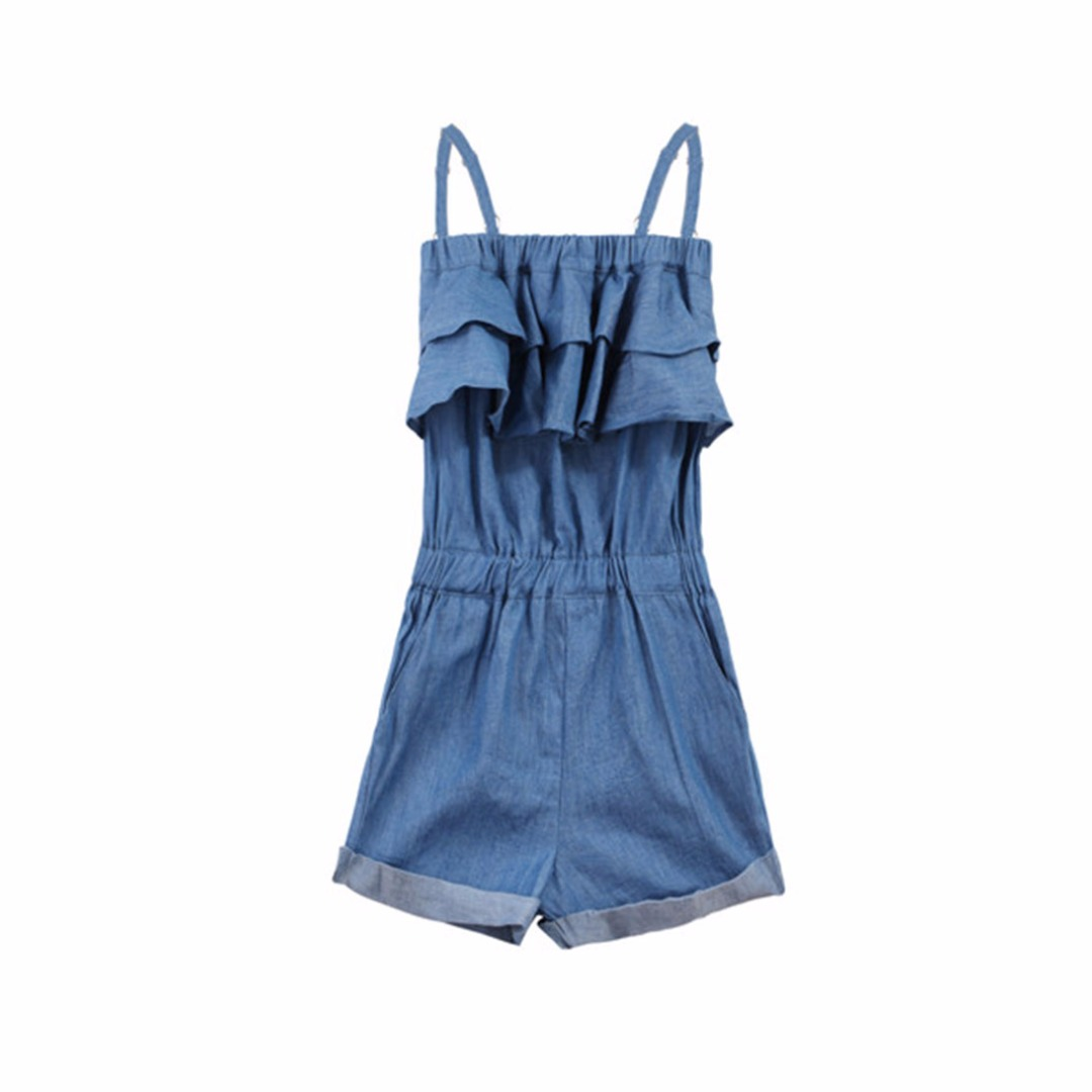 Girl's Denim Blue Ruffle Detailed Sleeveless Cotton Romper