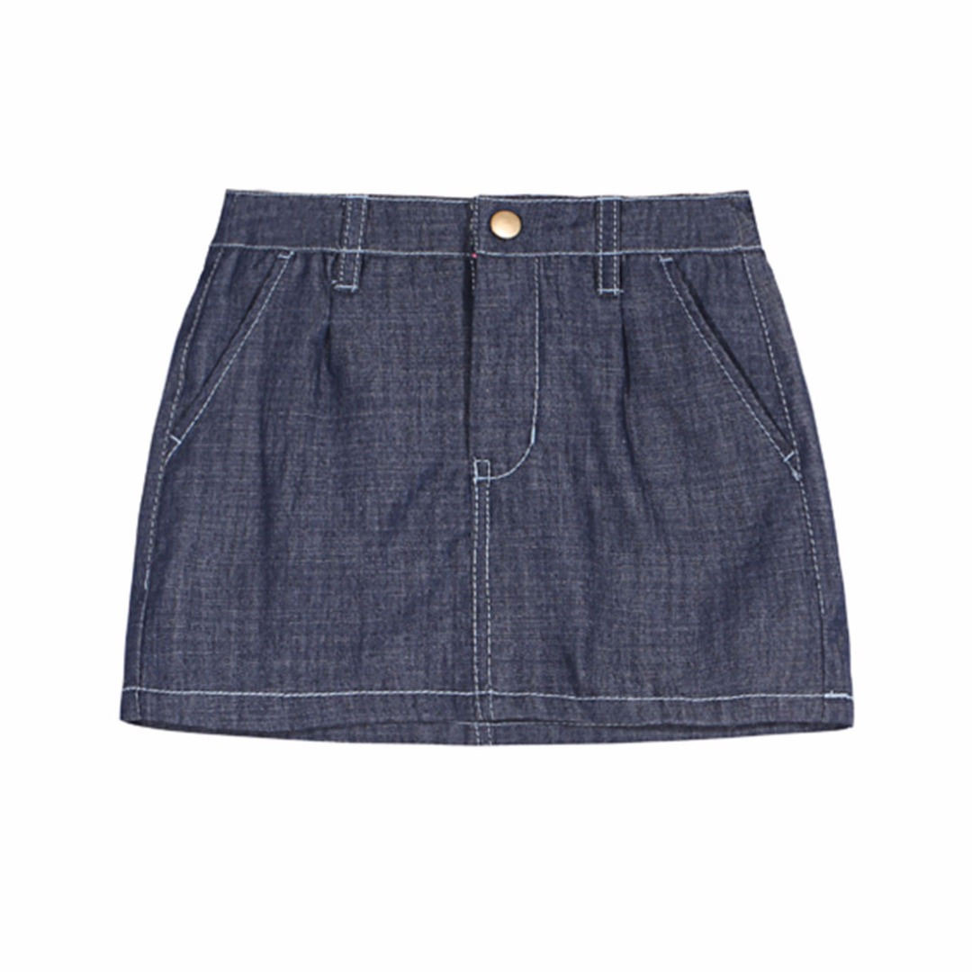 Girl's Denim Blue Cotton Skirt with Braided Belt