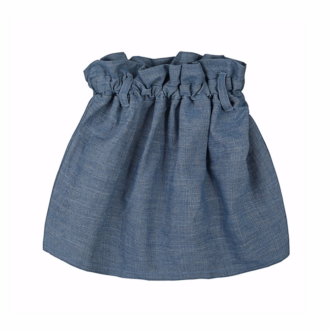Girl's Denim Ruffle Waisted Skirt