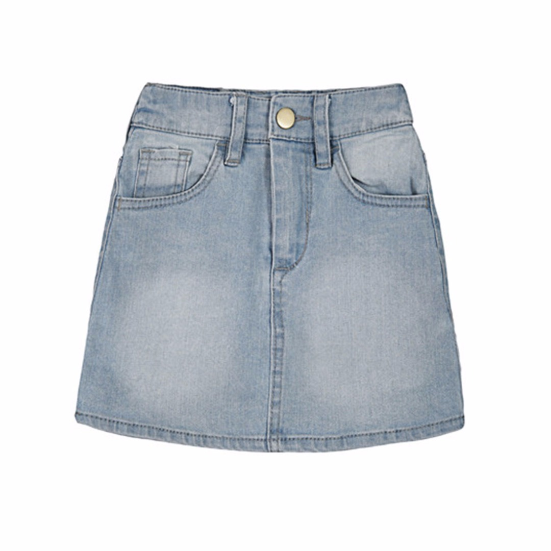 Girl's Pocket Accented Denim Skirt
