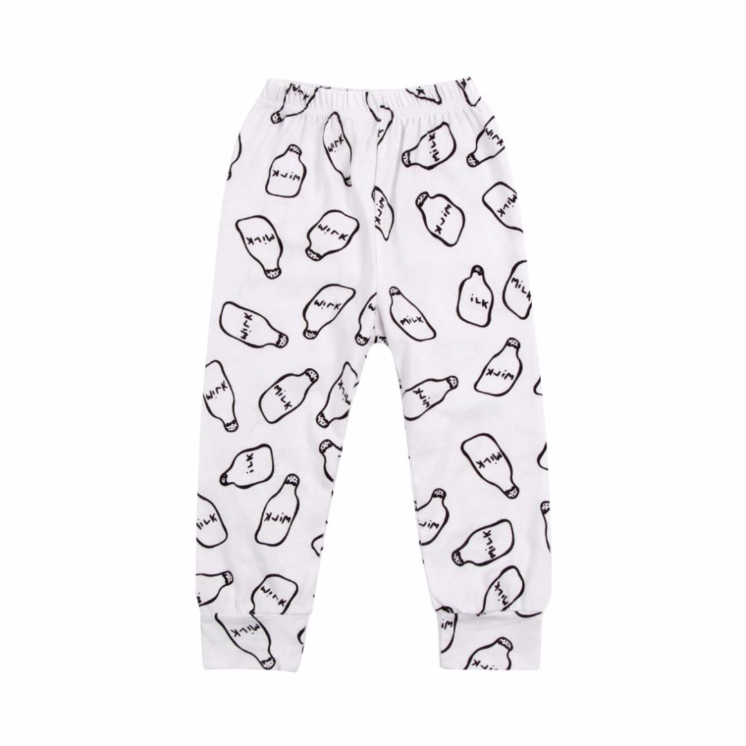 Milk Bottle Patterned Elastic Waist Cotton Pants for Baby