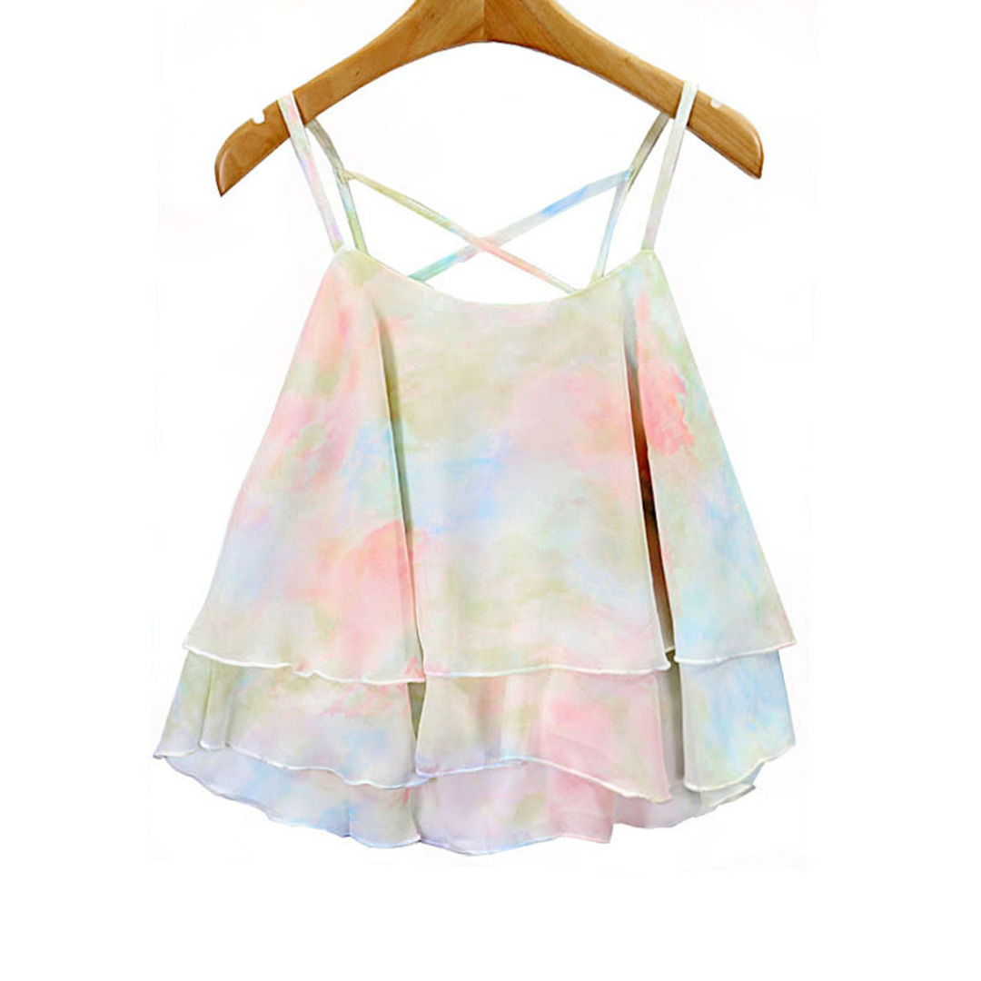 Women Colorful Chiffon Layered Camisole/Top in Light Pink