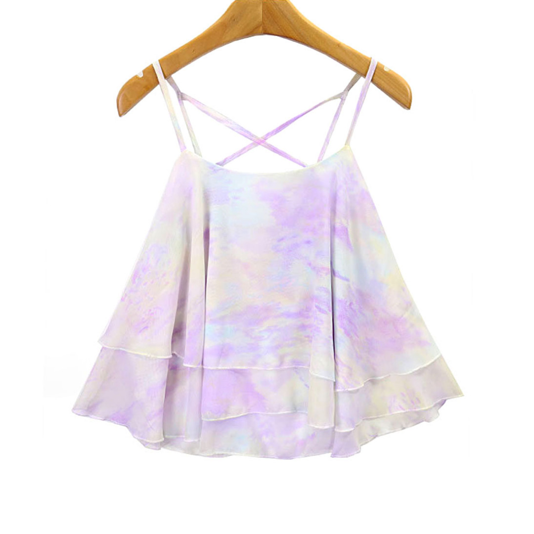 Women Colorful Chiffon Layered Camisole/Top in Light Purple