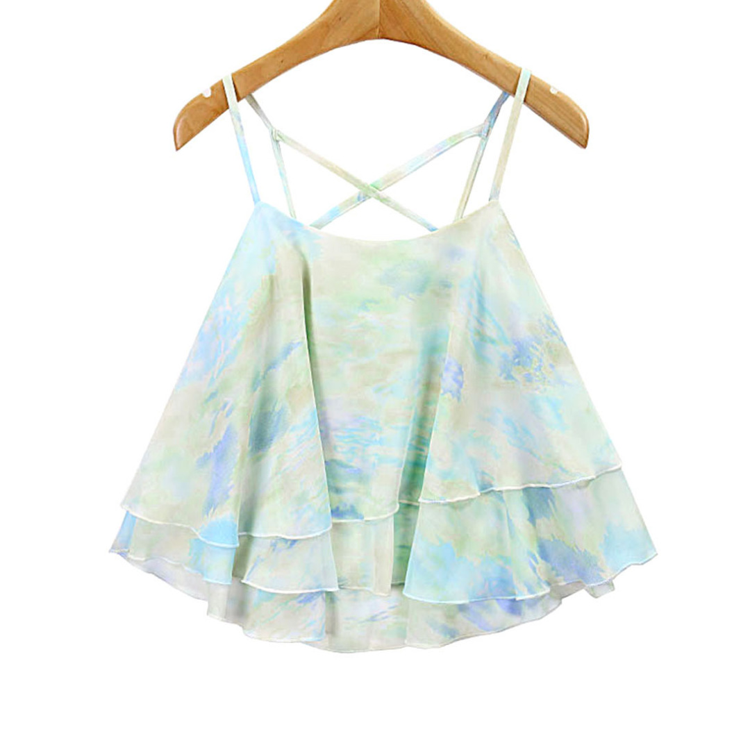 Women Colorful Chiffon Layered Camisole/Top in Light Green