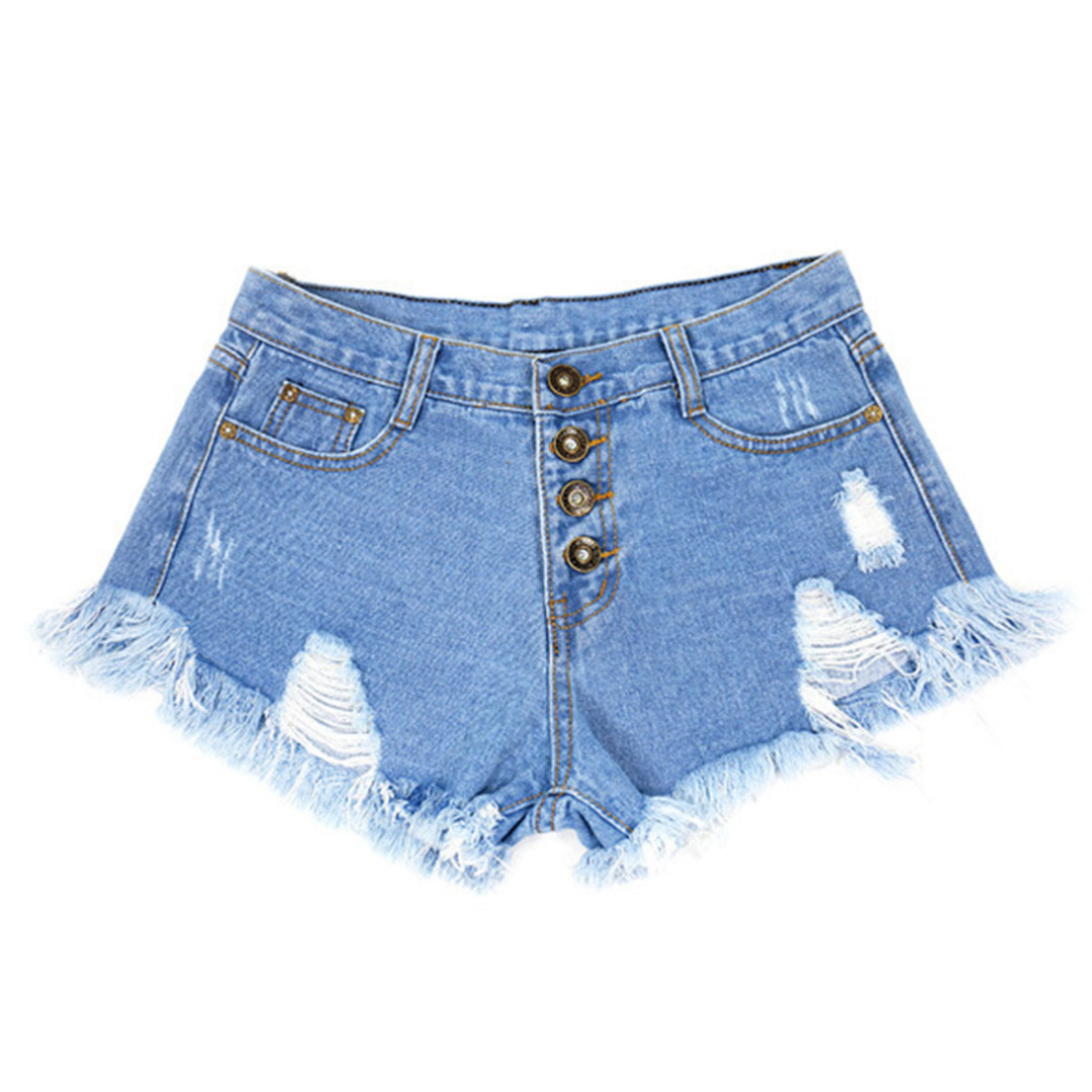 Women Fashion Distressed Denim Shorts with Tassels in Light Blue