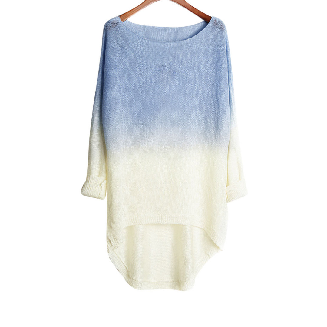 Women Light Blue & White Hi-Lo Knitted Long Sleeve Top