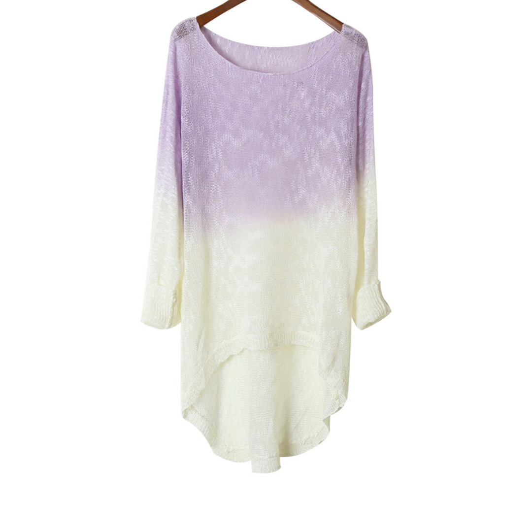 Women Light Purple & White Hi-Lo Knitted Long Sleeve Top