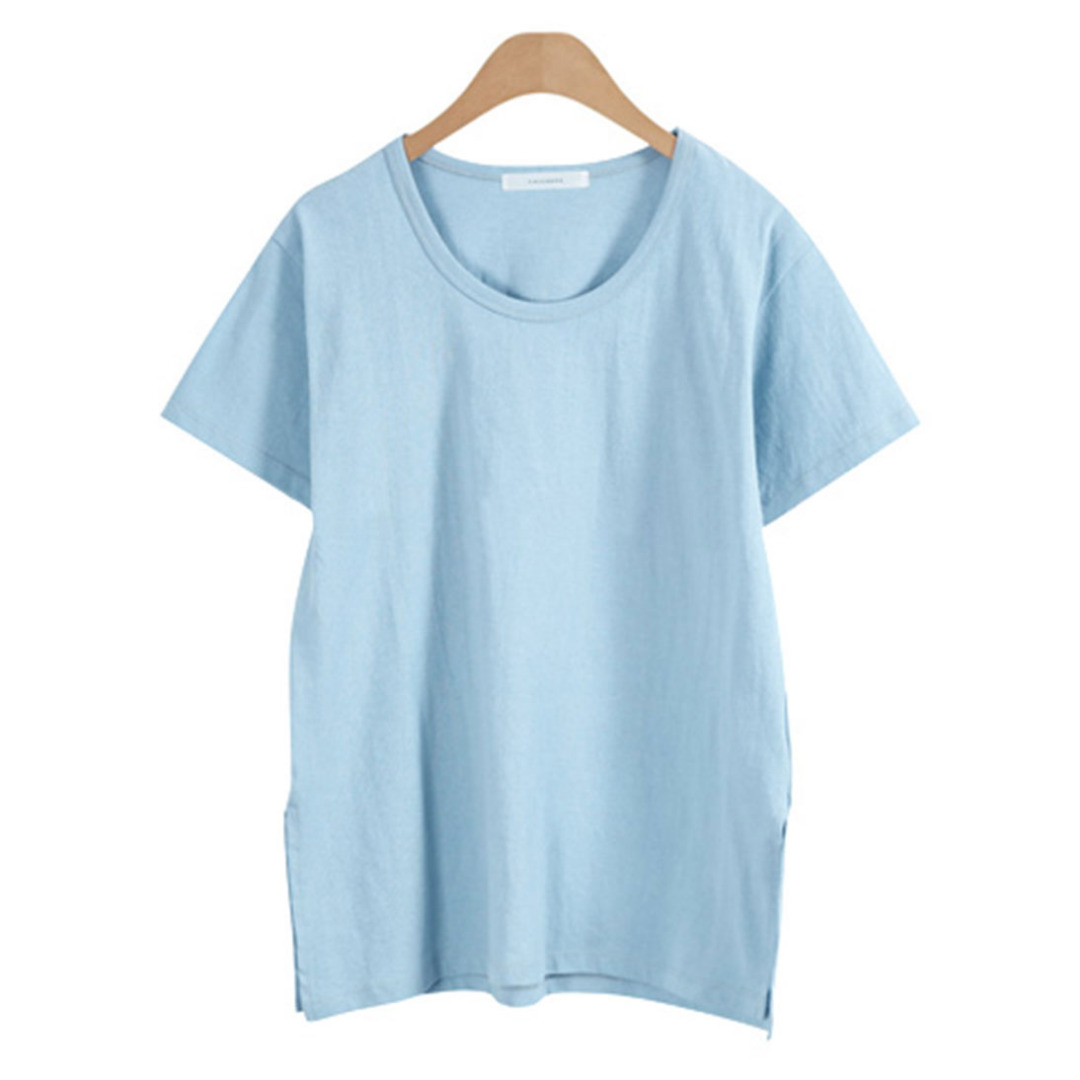 Women Comfy Side-Slit Solid Tee/Top in Light Blue