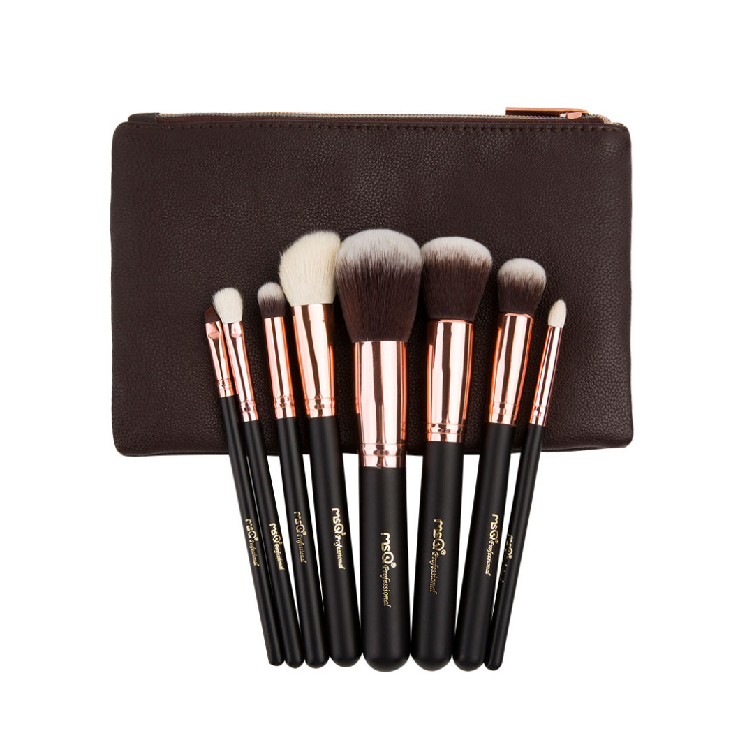Soft Goat Hair Face and Eye Makeup Brushes(8pc-set) with Bag
