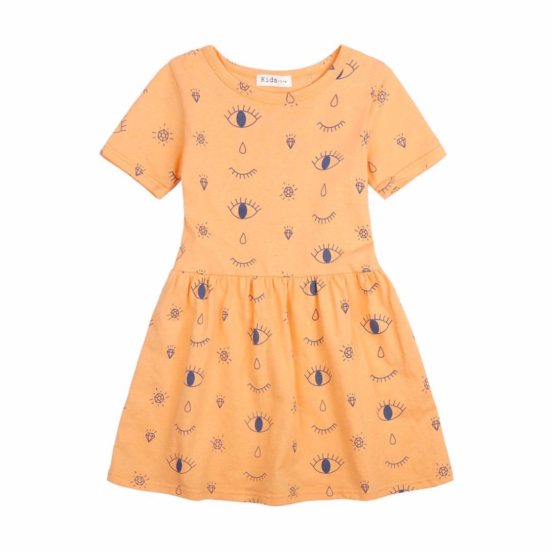 Eye and Diamond Print Cotton Sleeveless Dress for Girls