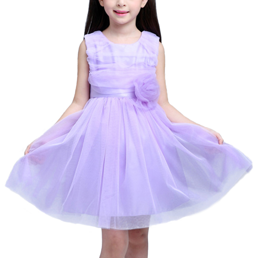 Girl's Layered Princess Dress with 3D Flower & Bowknot in Purple