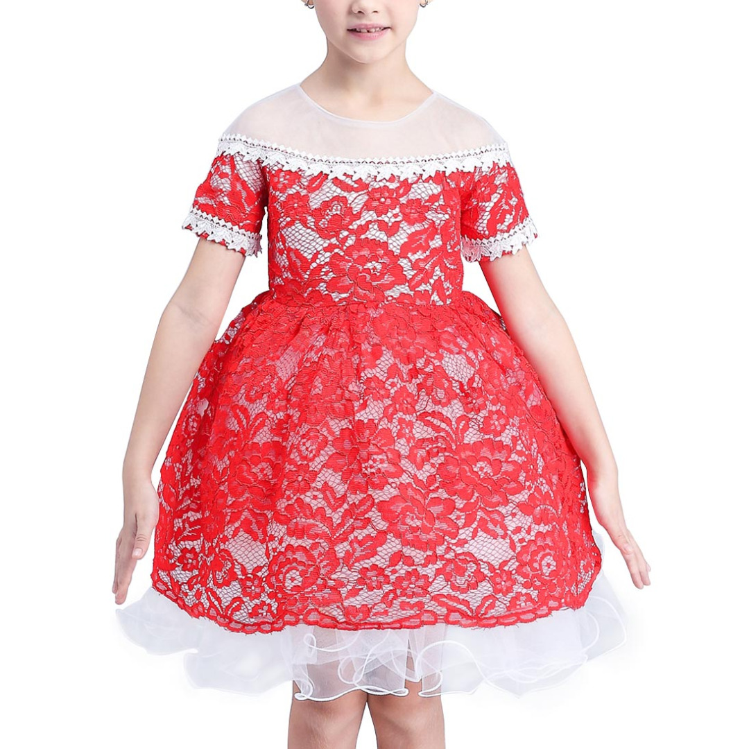 Girl's Lace Cutout Sleeveless Princess Dress in Red