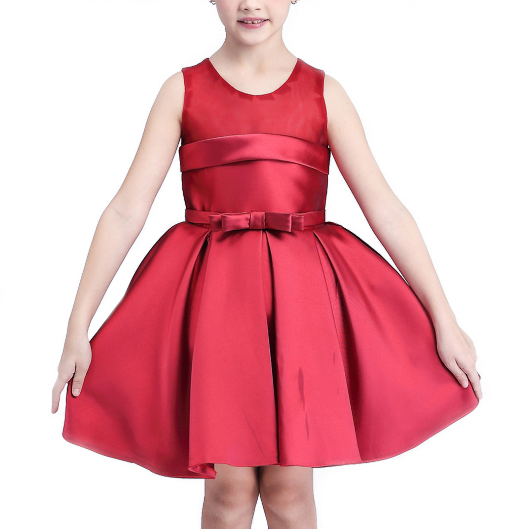 Girl's Solid Red Sleeveless Dress with Bowknot Decoration