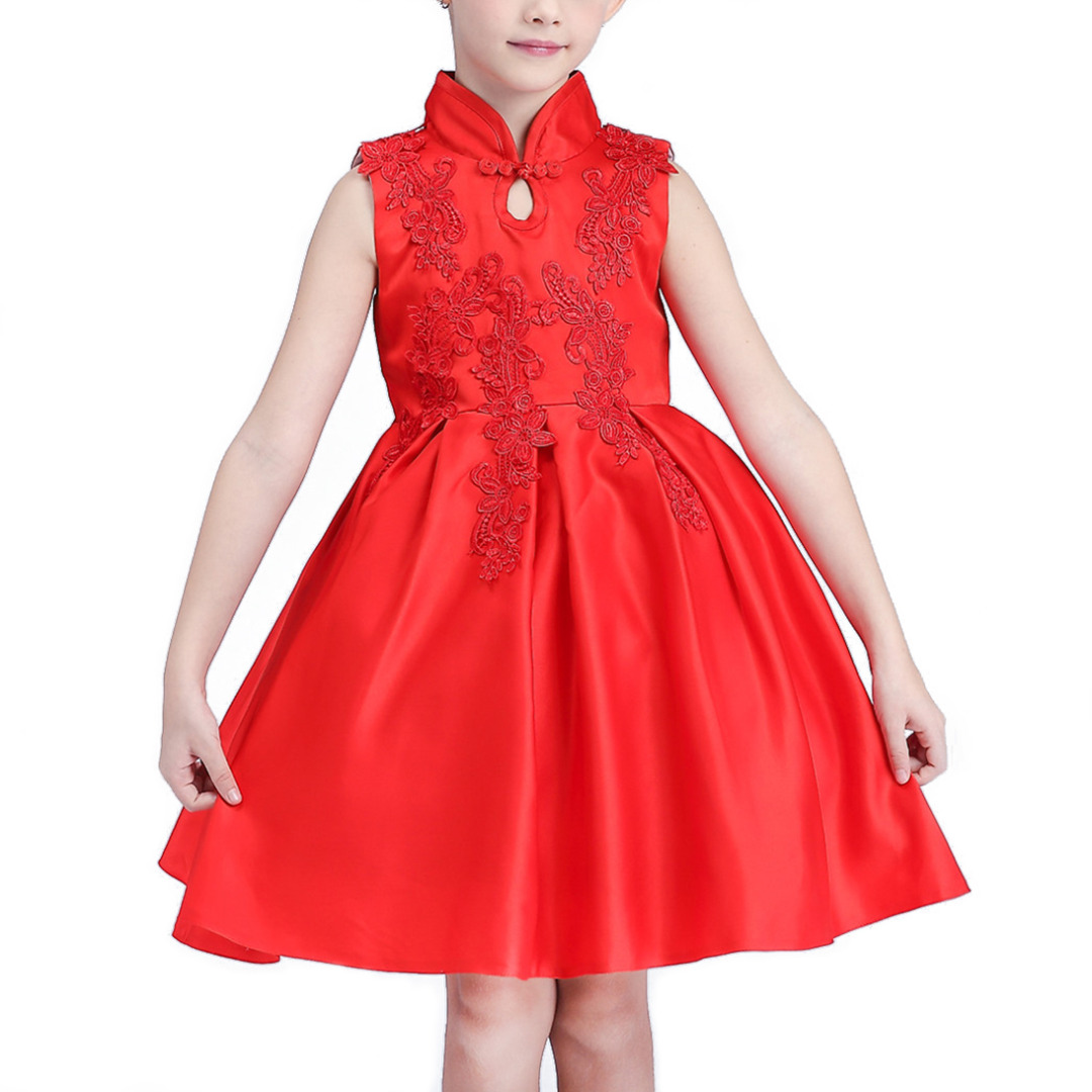 Girl's Solid Red Retro Sleeveless Dress with Floral Embroidery
