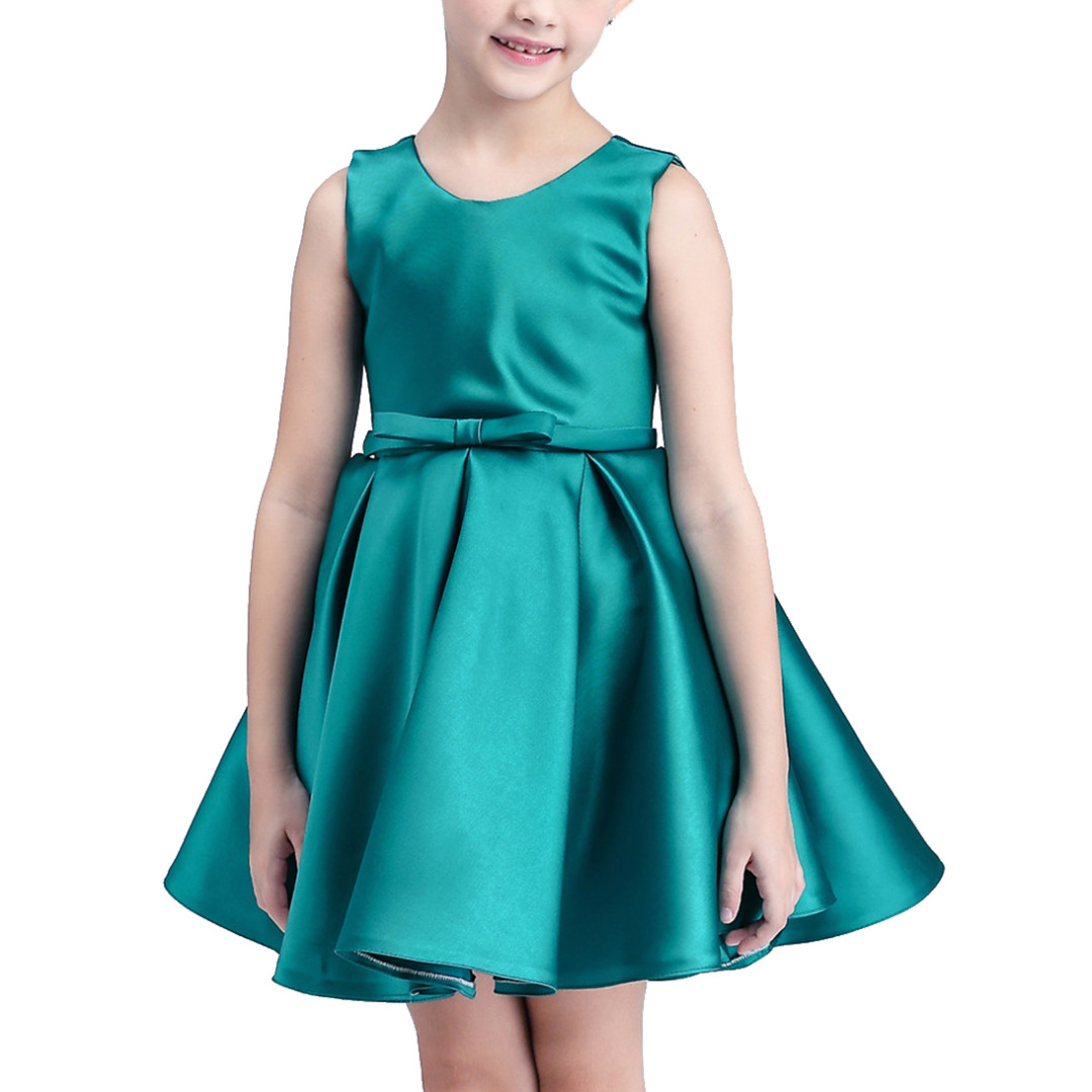 Girl's Solid Agate Green Sleeveless Dress with Bowknot Decoration