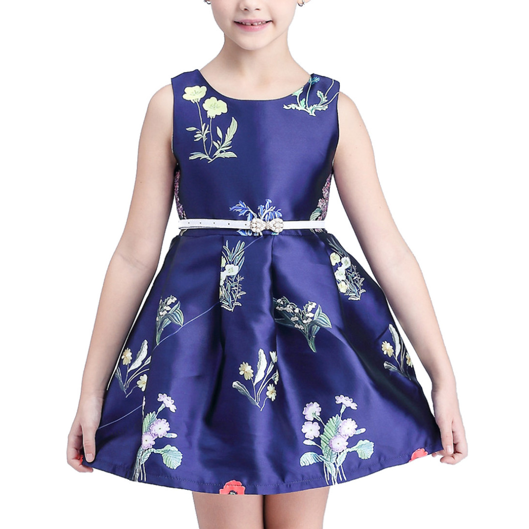 Girl's Bouquet Sleeveless Dress in Navy with White Belt