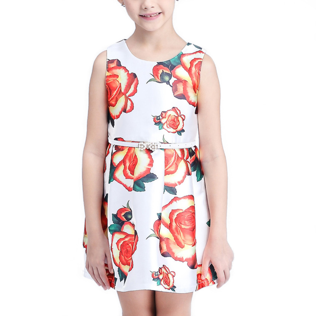 Girl's Bold Floral Sleeveless Dress in White with White Belt