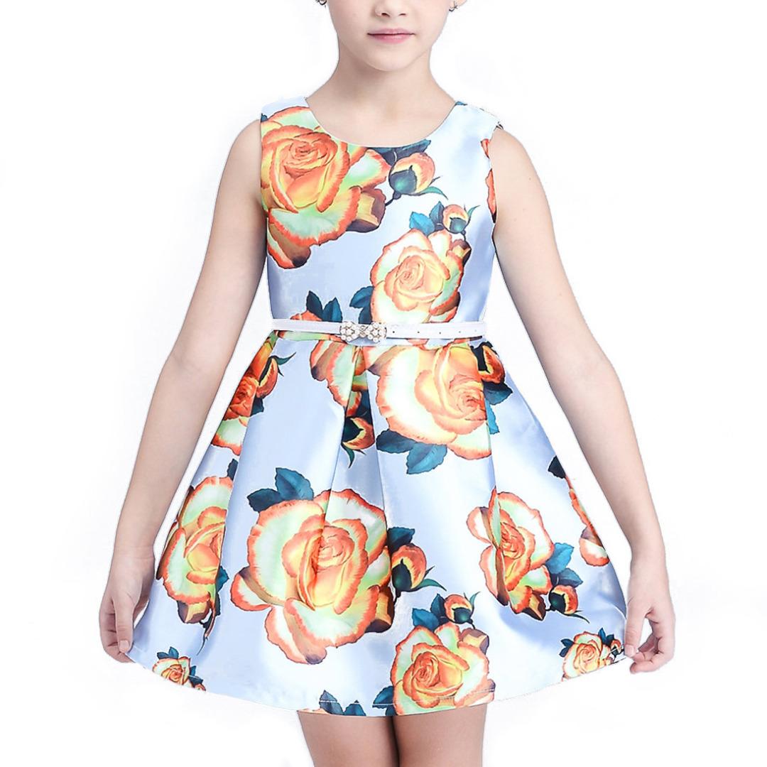 Girl's Bold Floral Sleeveless Dress in Light Blue with White Belt