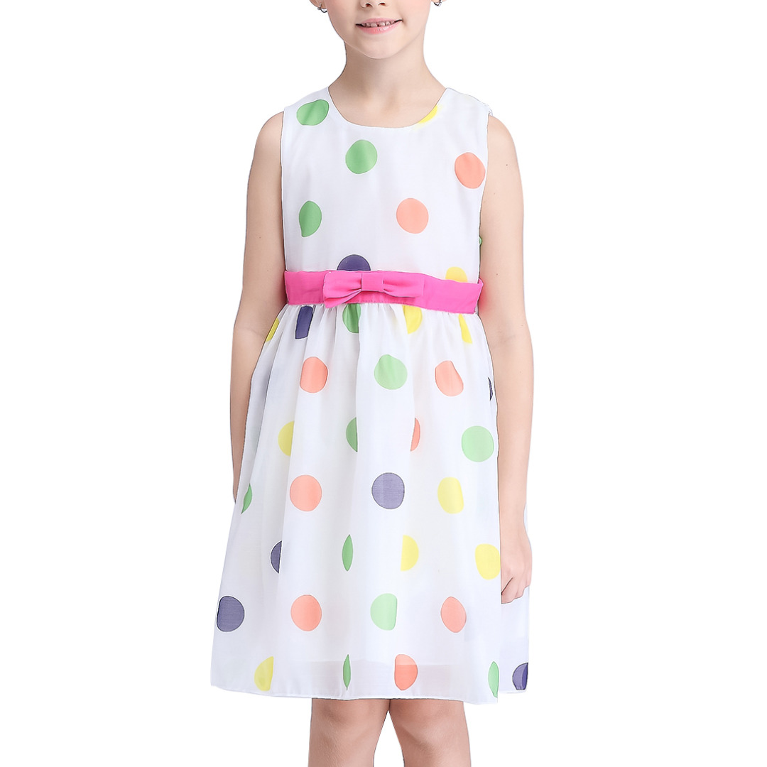 Girl's Colorful Bubble Sleeveless Dress with Bowknot Decoration