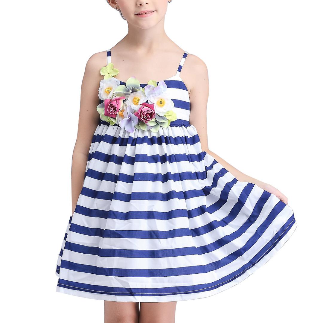 Girl's Blue Striped Slip Dress with 3D Flower Decoration