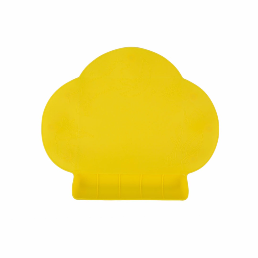 Yellow Portable Waterproof Silicone Tableware Placemat